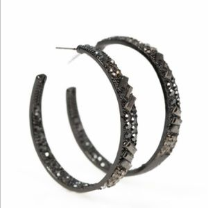 NWT Gunmetal Rhinestone Hoop Earrings